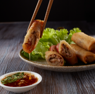 """Fried Spring Rolls"" with BBQ Pork"