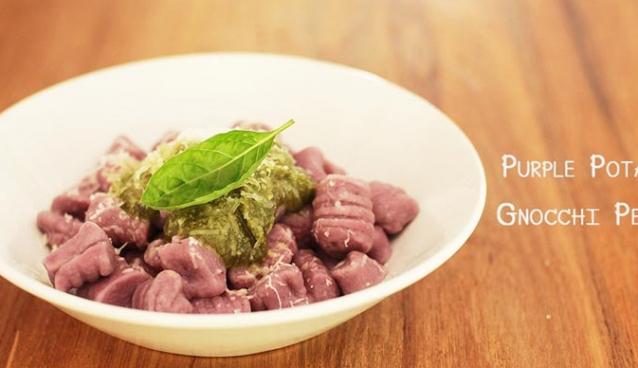 "Homemade ""Gnocchi with chewy purple potato"