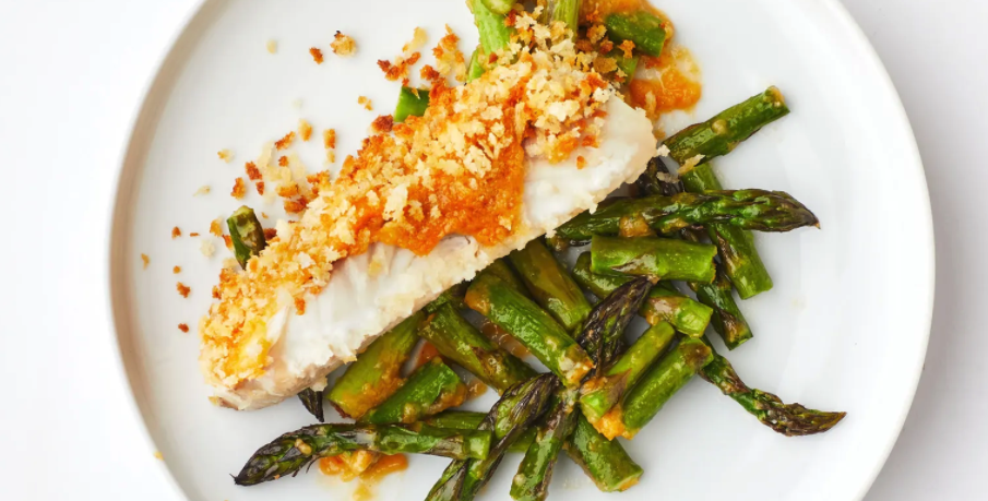 Crispy Miso-Butter Fish With Asparagus Asian Style